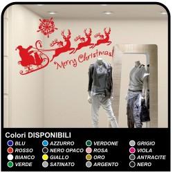 Sticker - weihnachten - schlitten mit Weihnachtsmann - Aufkleber, weihnachts - Schaufenstern von geschäften, um Weihnachts -