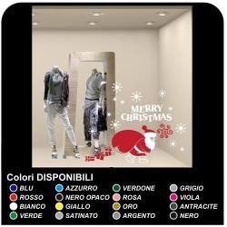Pegatinas de navidad - Santa Claus con la nieve y los regalos y las Pegatinas de navidad - la tienda de windows para Navidad