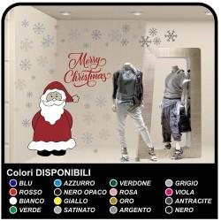 Pegatinas de navidad - Santa Claus con nieve-Feliz Navidad - ventana Pegatinas de navidad - la tienda de windows para Navidad