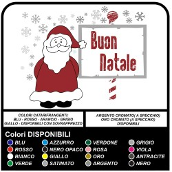 """Stickers christmas - Santa Claus with snow """"Merry Christmas"""" - Decals, christmas - shop-windows for Christmas - stickers"""