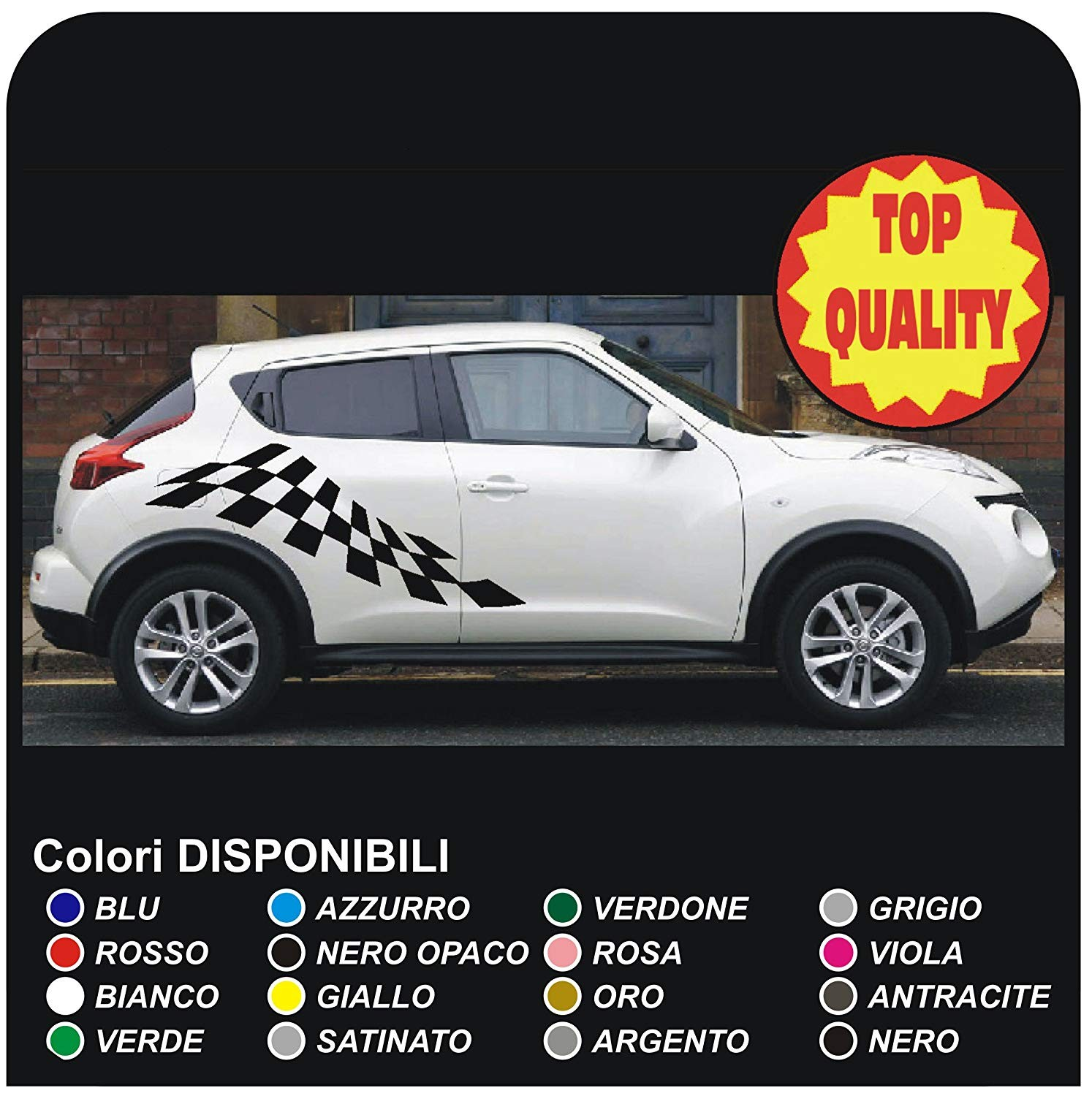 Stickers side for nissan juke 12 14 16 decoration stickers decals door side bands chequered flag jpg