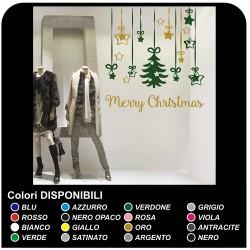 Pegatinas de Navidad - las etiquetas de navidad COLGANDO FELIZ NAVIDAD - 60x70 cm VERDE-y-ORO - pegatinas en los escaparates de