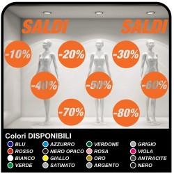 Adhésifs soldes Kit de 10 Stickers Soldes Différents Pourcentages de Décalcomanies, de vitrines Design Autocollants Decal