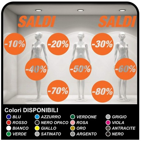 Los adhesivos de los saldos Kit de 10 Pegatinas de los Saldos de Distintos Porcentajes de Calcomanías, escaparatismo Pegatinas