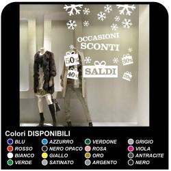 """Stickers muraux """"Soldes avec de la neige"""" - Mesures 120x130 cm) - Décalcomanies pour les soldes, vitrines de magasin, des"""