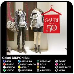 Aufkleber für schaufenster, geschäfte - währungsgebiets-Guthaben bei kleiderbügel - Maßnahmen 60x84 cm - rot - Aufkleber-salden