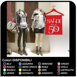 Pegatinas en los escaparates de las tiendas - Saldos con percha - Medidas 60x84 cm - rojo - las etiquetas de los saldos de