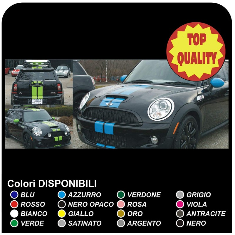Kit Adhesive Stripes Hood Roof And Trunk Cooper Mini One S Works