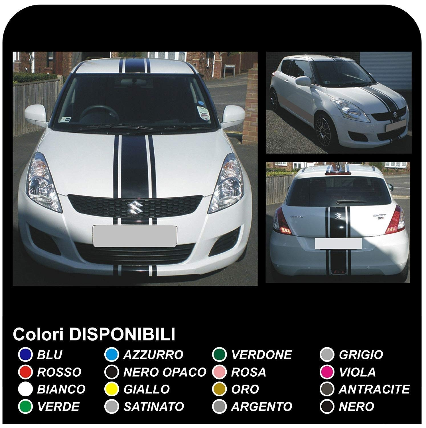 Adhesive hood roof and trunk for suzuki swift stripes decals 12 13 15 16 sport glx adhesive strips for suzuki swift jpg