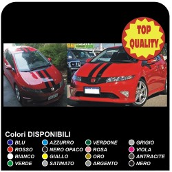 Stripes and bonnet and roof Stickers for HONDA CIVIC type R 1.6 1.8 2.2 D ictdi's Compatible for the civic 3 and 5 door