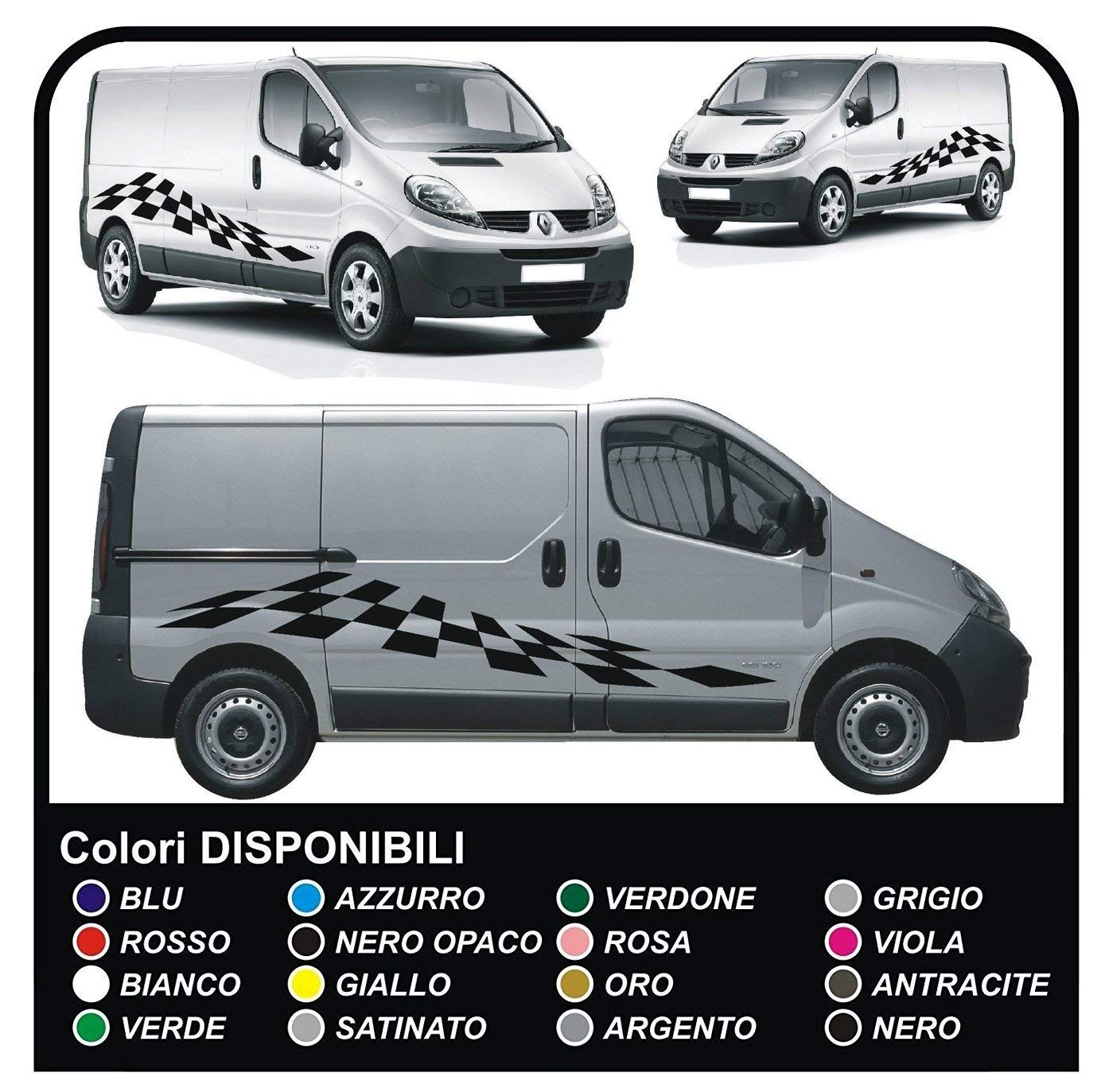 Stickers for hood and side for ford transit custom swb m sport van chessboard vivaro ducato iveco daily jpg