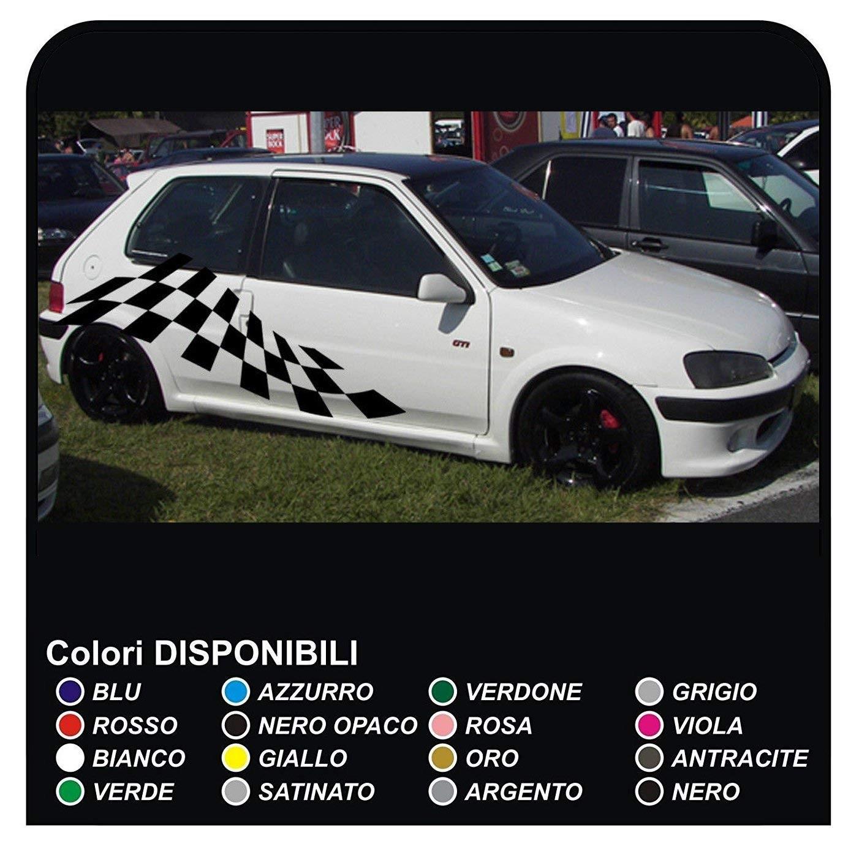 Aufkleber Seitlich Schachbrett Für Peugeot 106 205 206 208 306 308 Gti 3 Oder 5 Türen Zargen Aufkleber Streifen Cm180 Universal
