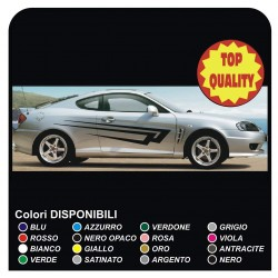 Stickers side Stripes on the side FOR HYUNDAI COUPE 1.6 1.8 2.2 D - Compatible with both 3 and 5 door side panels graphics