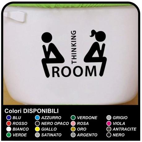 """ADESIVO bagno sciacquone cm 20x15 """"Thinking Room"""" - Porta del bagno divertente - Home Decor Small Toilet WC"""