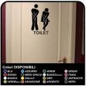 WALL STICKER 20cm x 30cm - bathroom Door funny - Home Decor Small Toilet TOILET Bathroom Wall Sticker decal