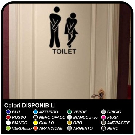 STICKER MURAL CM 13x20 - bathroom Door funny - Home Decor Small Toilet TOILET Bathroom Wall Sticker decal
