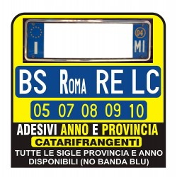 ADESIVI Targa AUTO ANNO E PROVINCIA RIFRANGENTI - Bmw 318 320 330 520 530 X3 X5