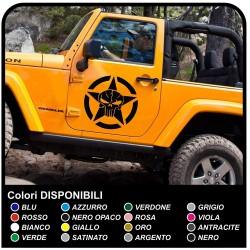 stickers porte, le crâne avec la star jeep wrangler pour les véhicules hors route et de vus Crâne Willys US Army autocollants
