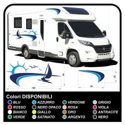 autocollants camping-car, CARAVANE, Motorhome - graphique 18 - le Soleil, la mer, le bateau, la plage, les mouettes