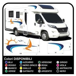 stickers CAMPER VAN CARAVAN Motorhome - graphics 18b - Sun, sea, boat, beach, seagulls