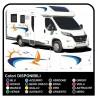 autocollants camping-car, CARAVANE, Motorhome - graphique 18b - le Soleil, la mer, le bateau, la plage, les mouettes