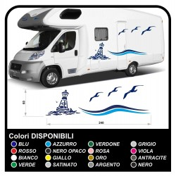 stickers RV Set Camper Van RV Caravan Motorhome, caravan, TOP QUALITY - graphics 20 - the sea, the sky, seagulls, lighthouse