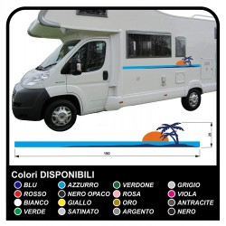 autocollants RV Définir Le Van RV Caravane camping-car, caravane, TOP QUALITÉ graphique 21a - soleil, palmiers, plage de l'île