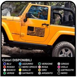 stickers porte, Drapeau Américain US ARMY effet usé pour un jeep wrangler véhicules tout terrain et suv Crâne Willys Tuning