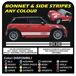 adhesive side MINI cooper graphics uk flag stripes MINI COOPER S ONE JCW 1.4 1.6