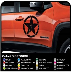 KIT 2 STICKERS door star military worn effect Jeep CJ CJ3 CJ5 CJ7 CJ8, US ARMY OFFROAD SUV