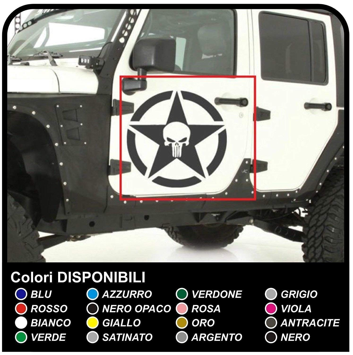 Stickers door star with skull for jeep wrangler off road vehicles and suv s skull willys tuning rally jpg