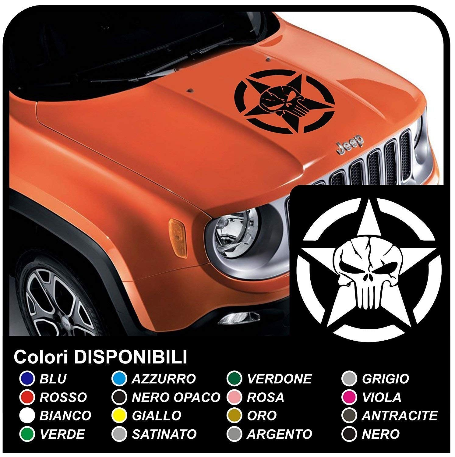 Stickers for hood for wrangler jeep us army star with skull renegade jeep star military willys jpg