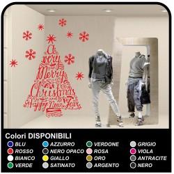 Aufkleber weihnachten - Merry Christmas and Happy New Year - Aufkleber für schaufenster zur weihnachtszeit