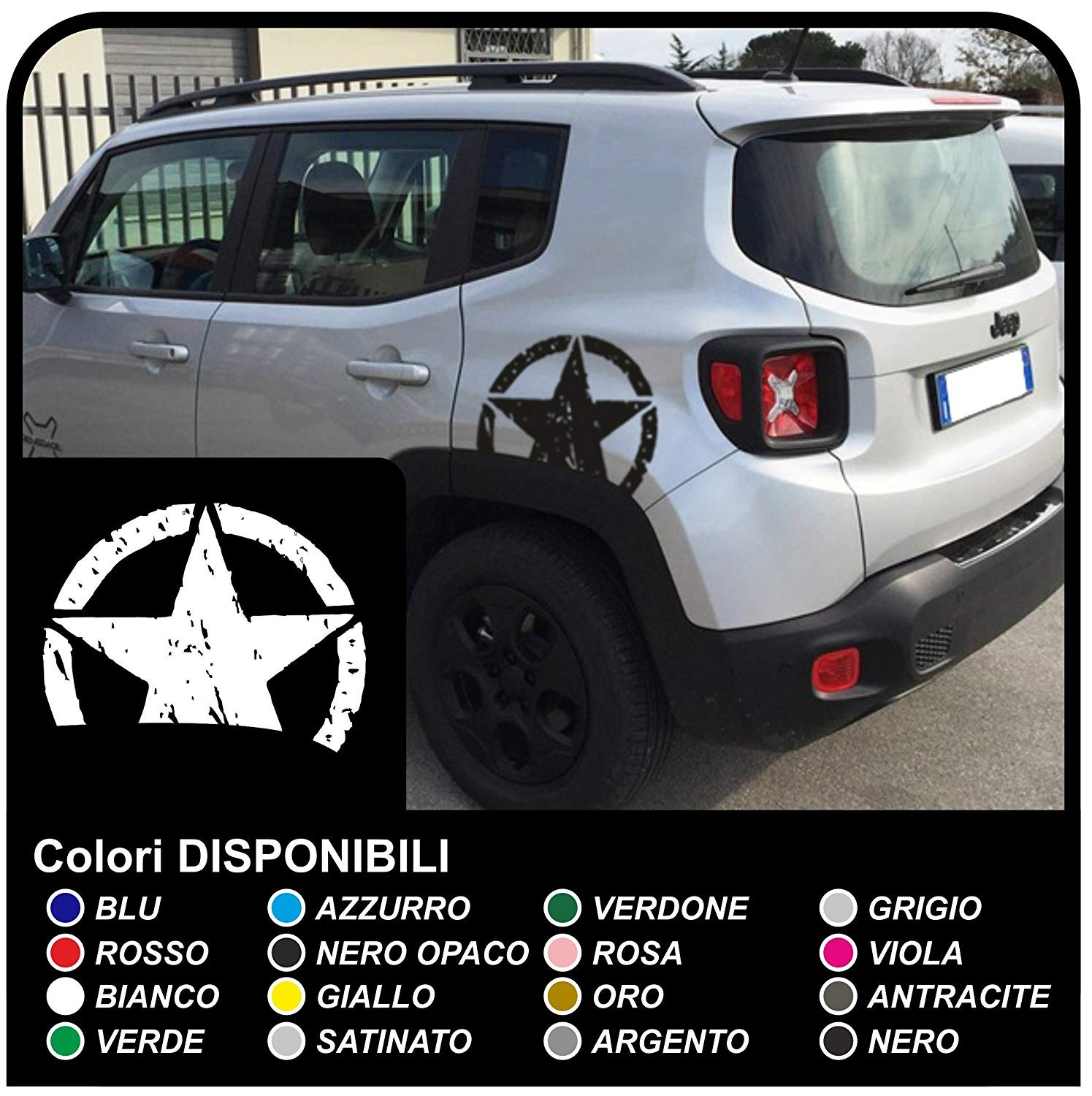 Stickers star broken for the rear jeep renegade worn effect stickers new jeep renegade top quality jpg
