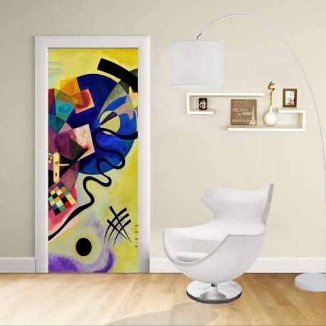 aufkleber design t r kandinsky gelb rot und blau. Black Bedroom Furniture Sets. Home Design Ideas