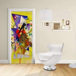 Adhésif Conception de la porte - Kandinsky Accompagnement jaune - Jaune Accompainment Décoration adhésif pour portes et meubles