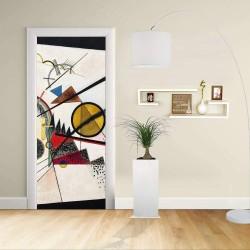 Adhésif Conception de la porte - Kandinsky Dans le carré noir Dans le Carré noir de la Décoration adhésive pour les portes et