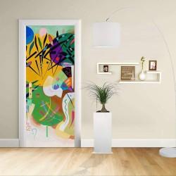 Adhesivo para el Diseño de la puerta - Kandinsky Curva Dominante 1936 - Dominante Curvas, Decoración adhesiva para puertas y