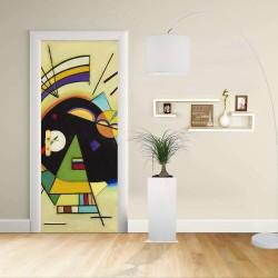 Adhésif Conception de la porte - Kandinsky Noir et de Violet, de Noir et de Violet Décoration adhésif pour portes et meubles