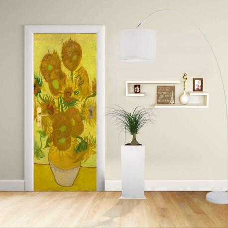 Adhesive door Design - Van Gogh Sunflowers - Decorative adhesive for doors