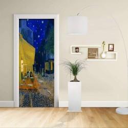 Adhésif Conception de la porte - Van Gogh terrasse du Café le soir Café de la Terrasse à la Nuit Décoratifs pour portes
