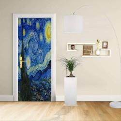 Adesivo Design porta - Van Gogh - Notte stellata- Decorazione adesiva per porte