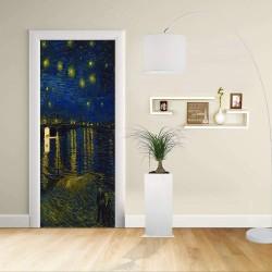 Adhesivo para el Diseño de la puerta - Van Gogh - el Cielo Estrellado sobre el Ródano - Decoración, adhesivo para la puerta