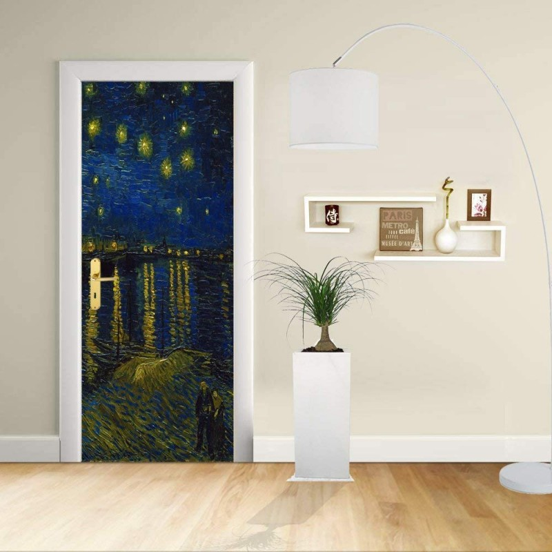 Aufkleber Design Tür Van Gogh Sternenhimmel über Der Rhone