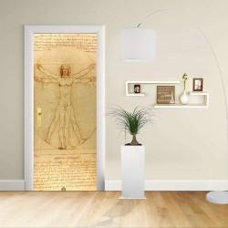 Adesivo Design porta - LEONARDO - Uomo Vitruviano - Decorazione adesiva per porte