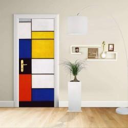 Adesivo Design porta - PIET MONDRIAN - COLORI PRIMARI - Decorazione adesiva per porte