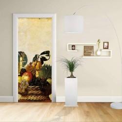 Adhesivo para el Diseño de la puerta - CARAVAGGIO - CESTA DE FRUTAS - Decoración, adhesivo para la puerta