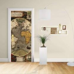 Adesivo Design porta - Mappa Nautica Hondius cartografia nautica Decorazione adesiva per porte arredo casa -