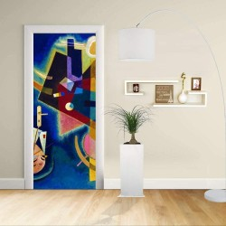 Adesivo Design porta - Kandinsky In Blu - KANDINSKYJ  In Blue -Decorazione adesiva per porte arredo casa