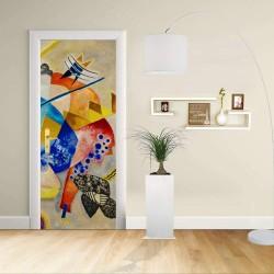 Adesivo Design porta - Kandinsky CENTRO BIANCO - KANDINSKYJ White Center -Decorazione adesiva per porte arredo casa